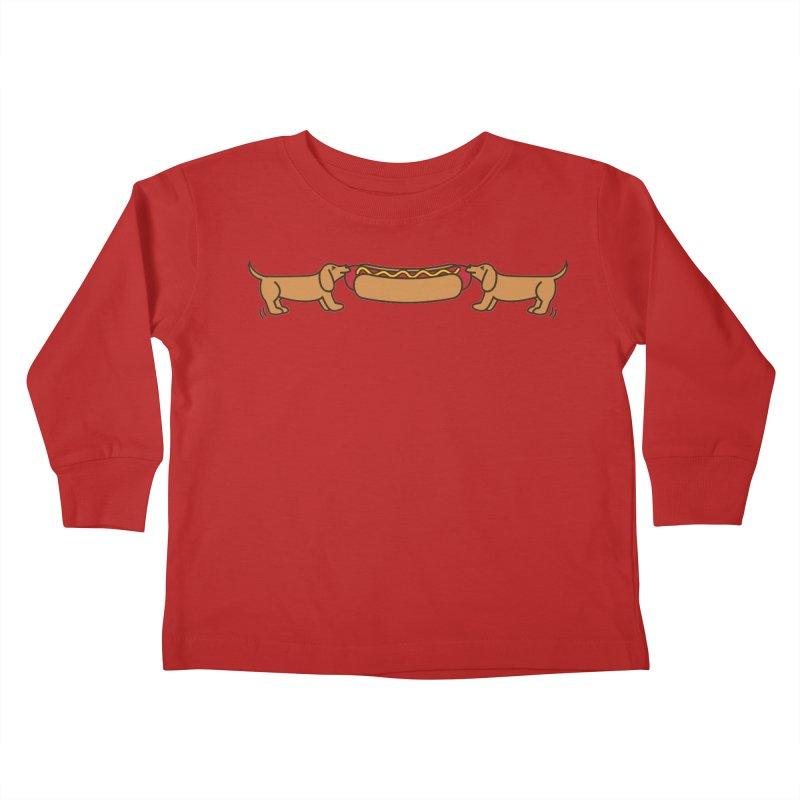 Hot Dog-O-War Kids Toddler Longsleeve T-Shirt by Robyriker Designs - Elishka Jepson
