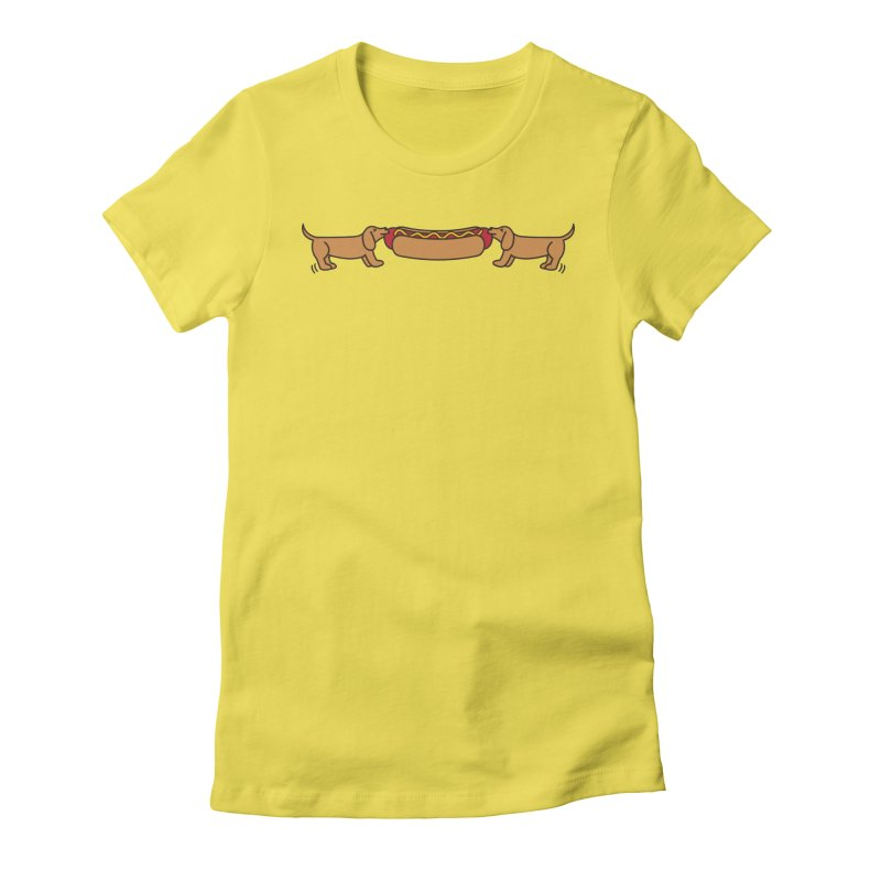 Hot Dog-O-War Women's Fitted T-Shirt by Robyriker Designs - Elishka Jepson