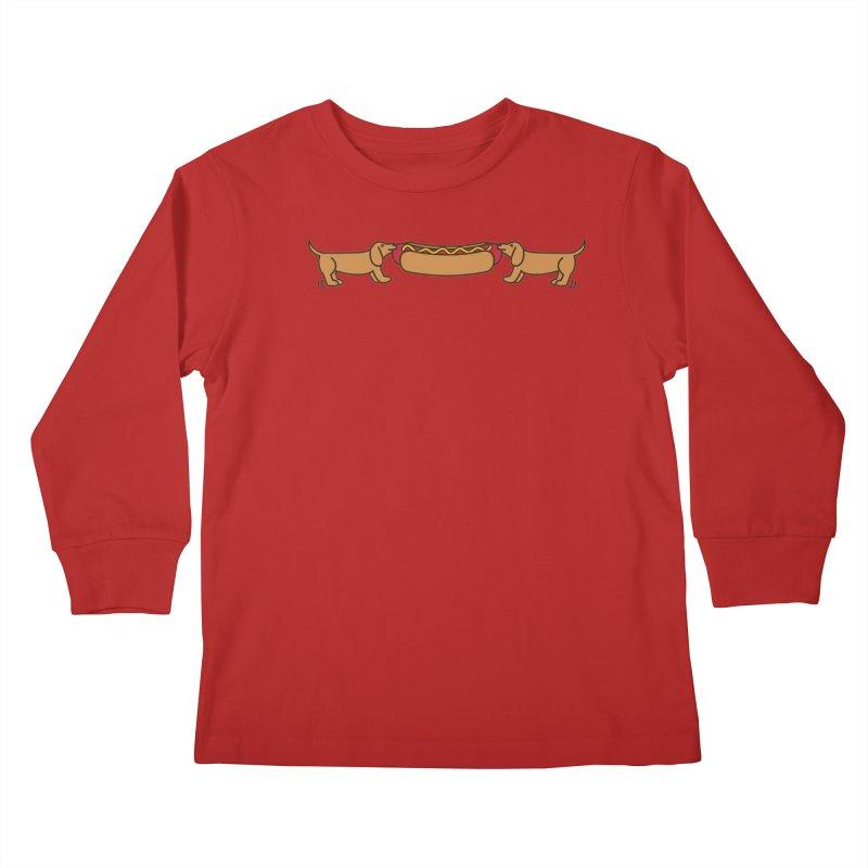 Hot Dog-O-War Kids Longsleeve T-Shirt by Robyriker Designs - Elishka Jepson