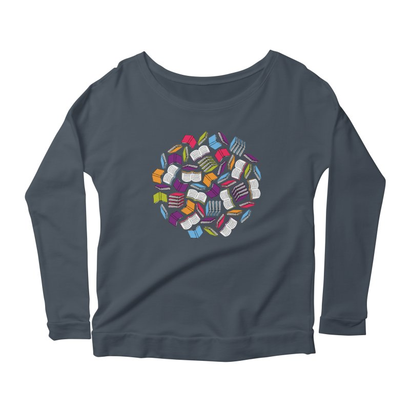 So Many Books... Women's Longsleeve Scoopneck  by Robyriker Designs - Elishka Jepson