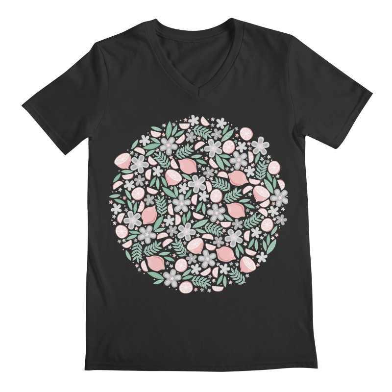 Pink Lemons Men's V-Neck by Robyriker Designs - Elishka Jepson