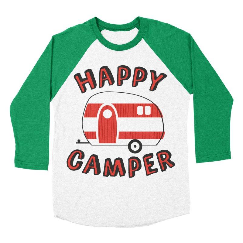 Happy Camper Women's Baseball Triblend T-Shirt by Robyriker Designs - Elishka Jepson