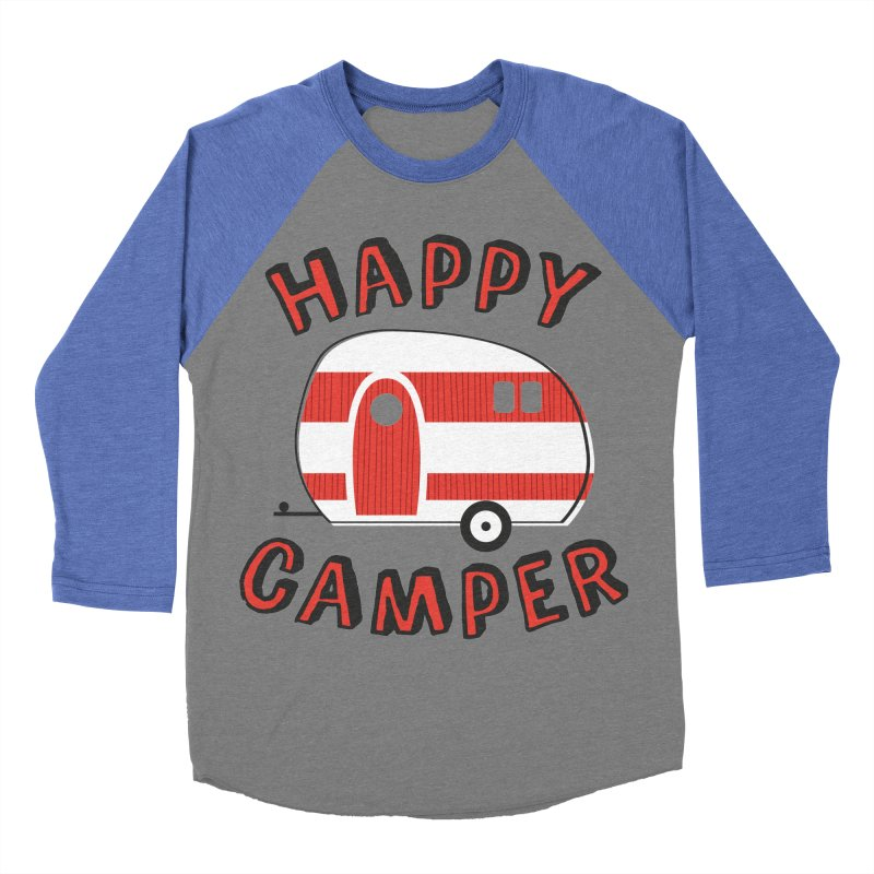 Happy Camper Men's Baseball Triblend T-Shirt by Robyriker Designs - Elishka Jepson