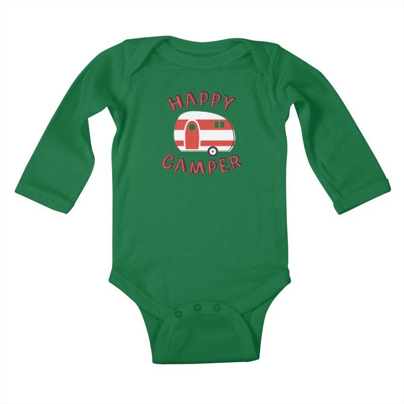 Happy Camper Kids Baby Longsleeve Bodysuit by Robyriker Designs - Elishka Jepson