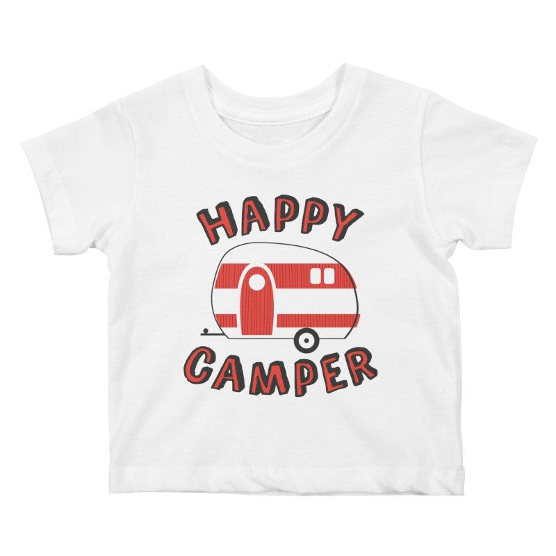 Happy Camper Kids Baby T-Shirt by Robyriker Designs - Elishka Jepson