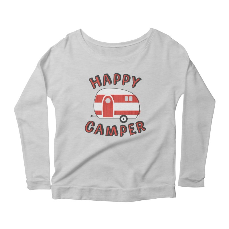 Happy Camper Women's Longsleeve Scoopneck  by Robyriker Designs - Elishka Jepson