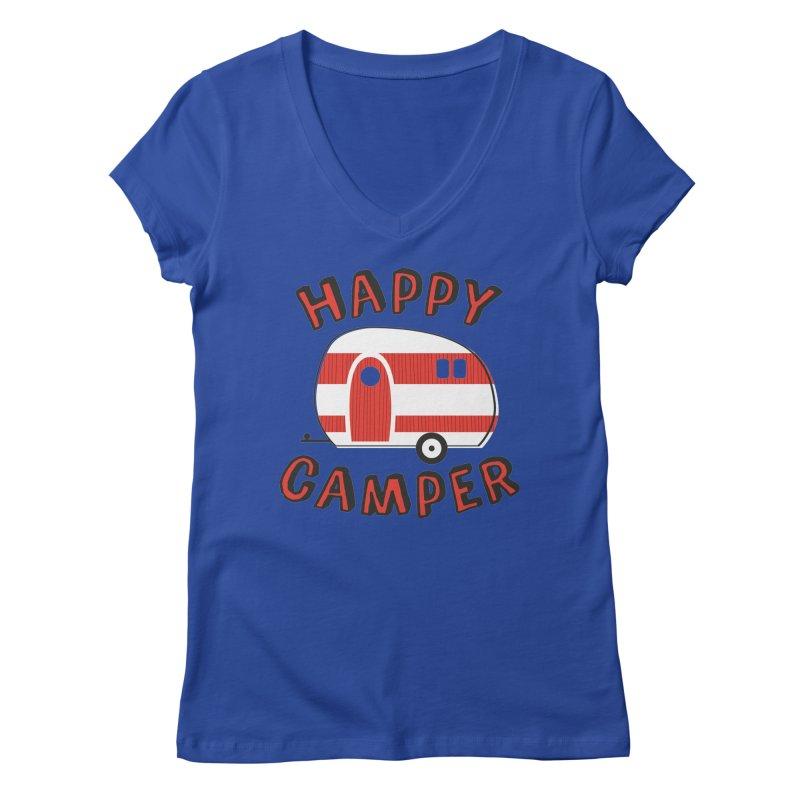 Happy Camper Women's V-Neck by Robyriker Designs - Elishka Jepson