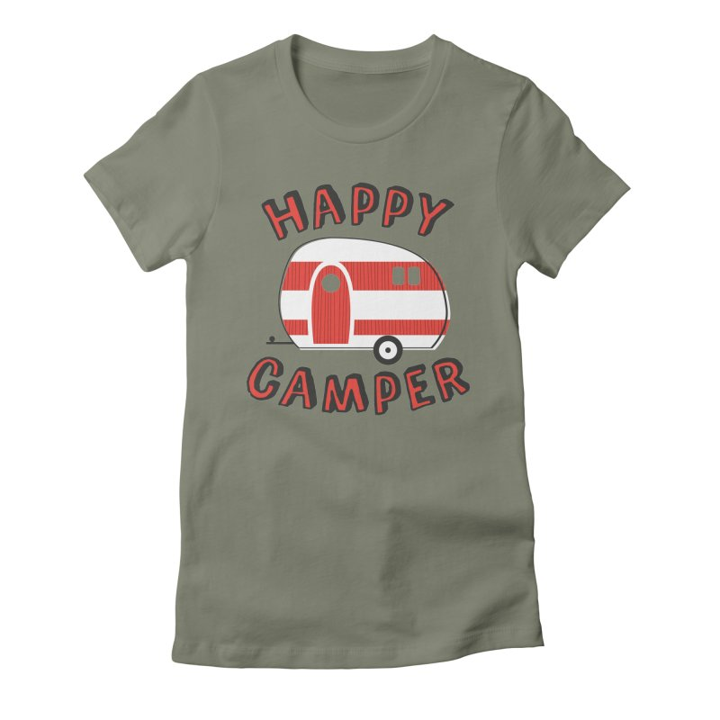 Happy Camper Women's Fitted T-Shirt by Robyriker Designs - Elishka Jepson