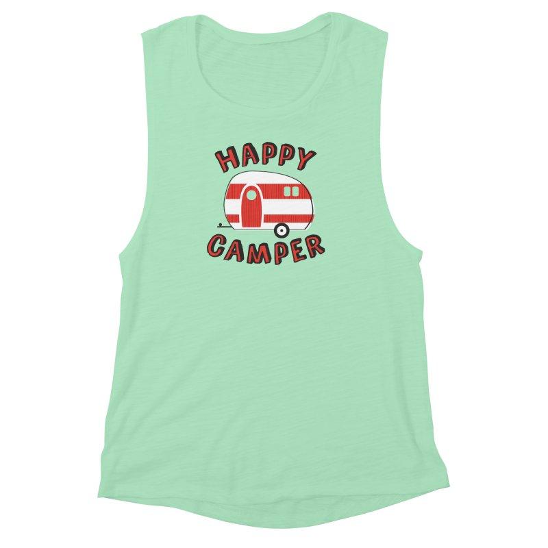 Happy Camper Women's Muscle Tank by Robyriker Designs - Elishka Jepson