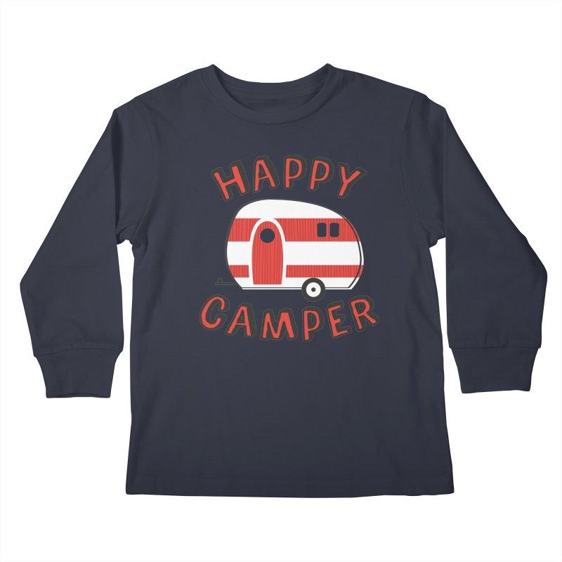 Happy Camper Kids Longsleeve T-Shirt by Robyriker Designs - Elishka Jepson