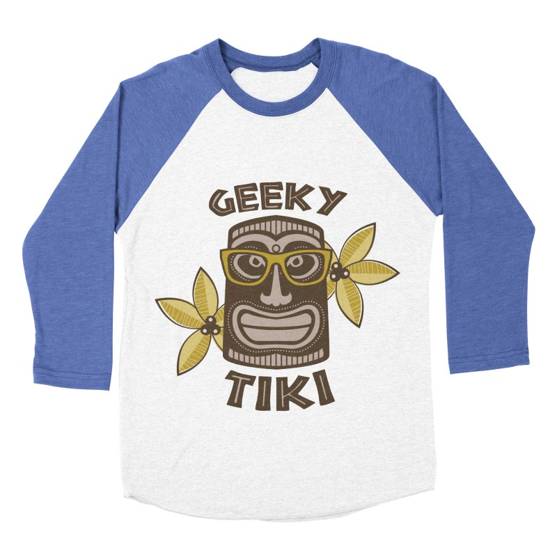 Geeky Tiki Men's Baseball Triblend T-Shirt by Robyriker Designs - Elishka Jepson