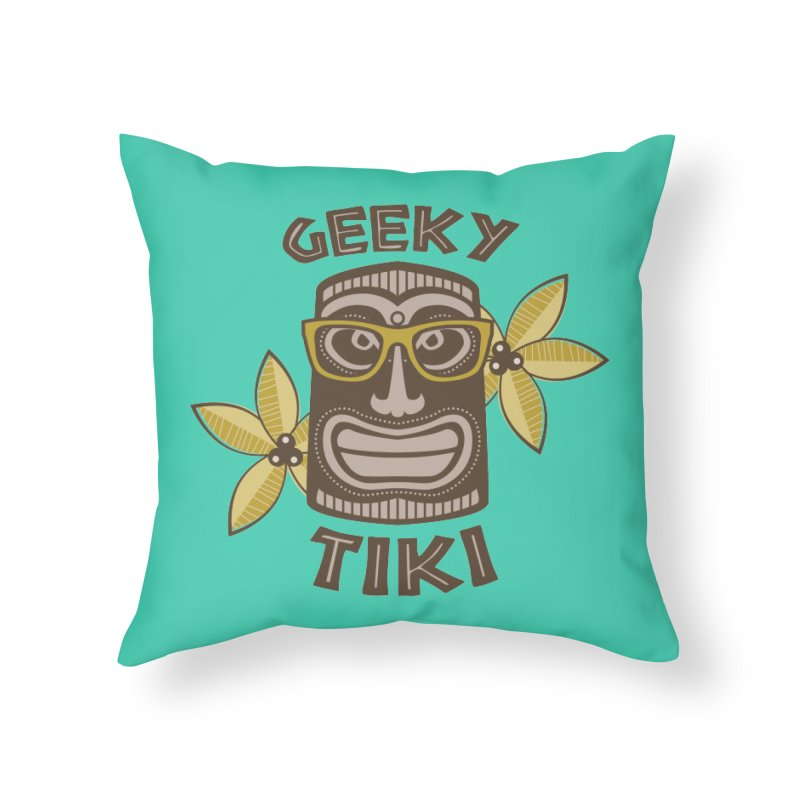 Geeky Tiki Home Throw Pillow by Robyriker Designs - Elishka Jepson