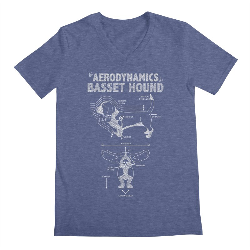 The Aerodynamics of a Basset Hound Men's V-Neck by Robyriker Designs - Elishka Jepson