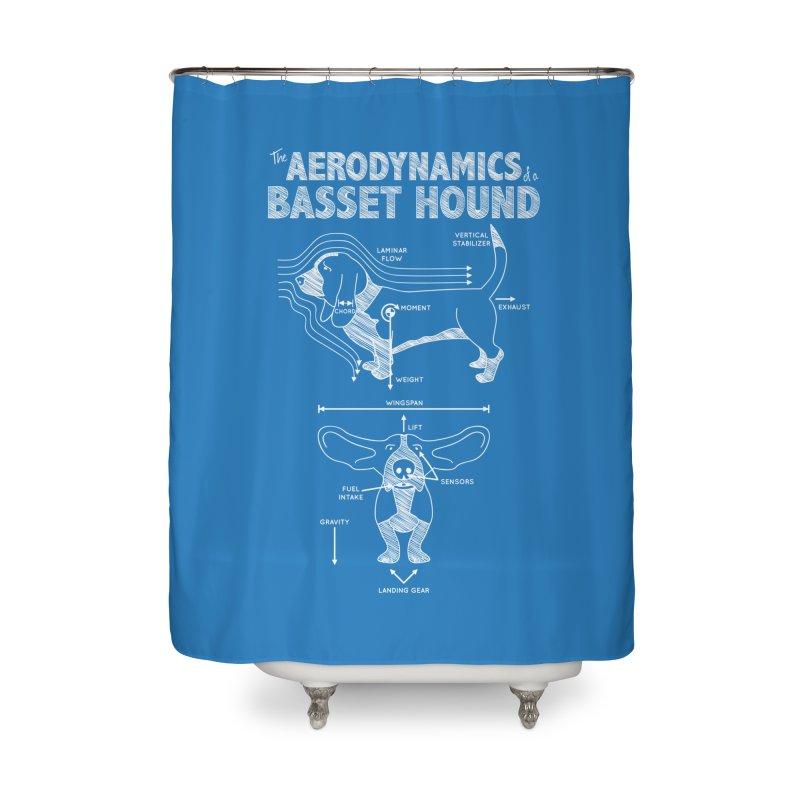 The Aerodynamics of a Basset Hound Home Shower Curtain by Robyriker Designs - Elishka Jepson