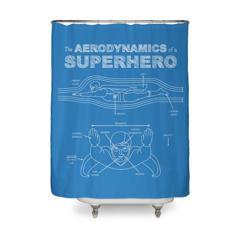 The Aerodynamics of a Superhero Home Shower Curtain by Robyriker Designs - Elishka Jepson