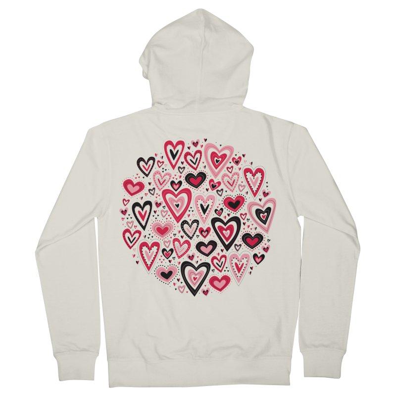Lovely Hearts Men's Zip-Up Hoody by Robyriker Designs - Elishka Jepson