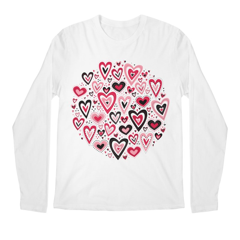 Lovely Hearts Men's Longsleeve T-Shirt by Robyriker Designs - Elishka Jepson