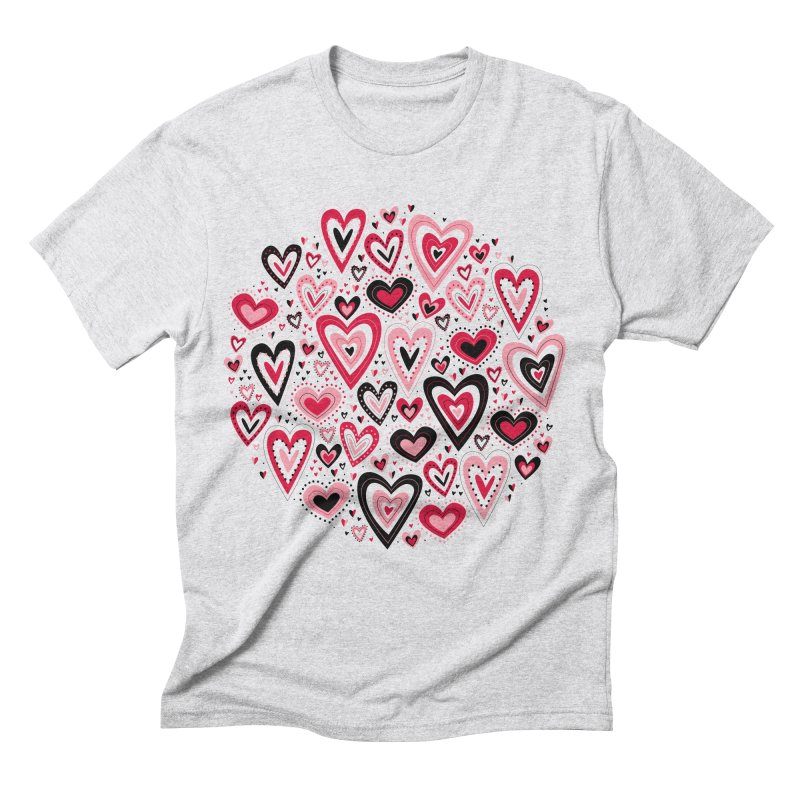 Lovely Hearts Men's Triblend T-Shirt by Robyriker Designs - Elishka Jepson