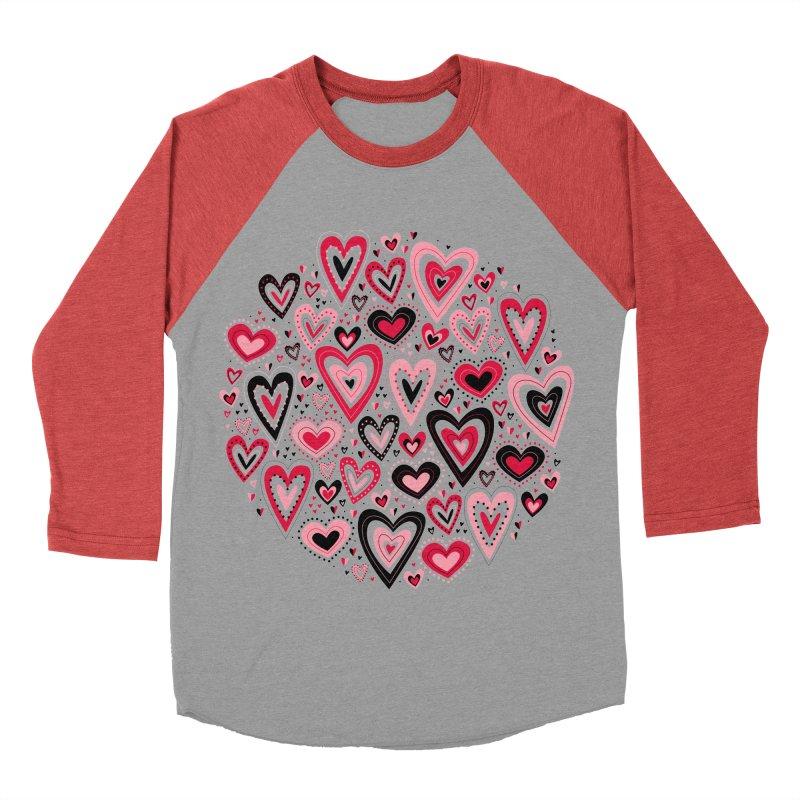 Lovely Hearts Women's Baseball Triblend T-Shirt by Robyriker Designs - Elishka Jepson