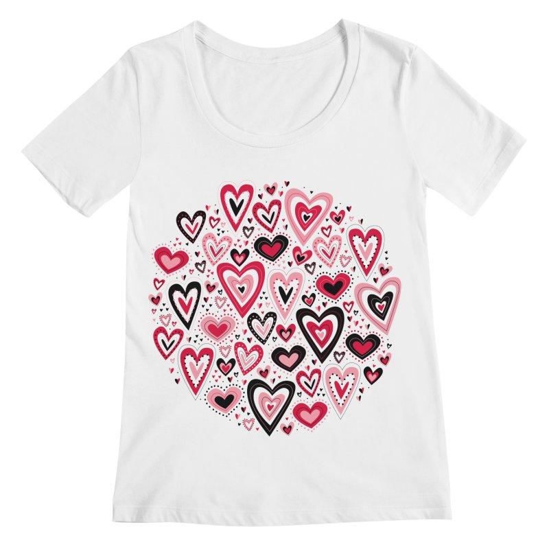 Lovely Hearts Women's Scoopneck by Robyriker Designs - Elishka Jepson