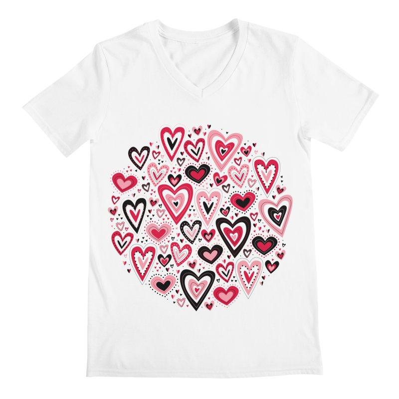Lovely Hearts Men's V-Neck by Robyriker Designs - Elishka Jepson