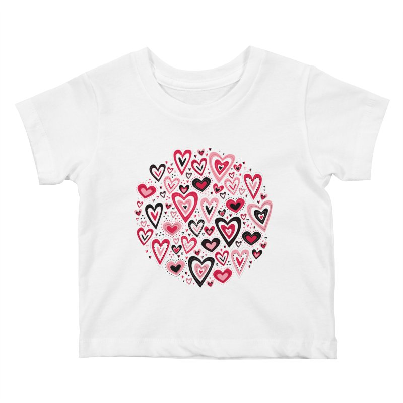 Lovely Hearts Kids Baby T-Shirt by Robyriker Designs - Elishka Jepson
