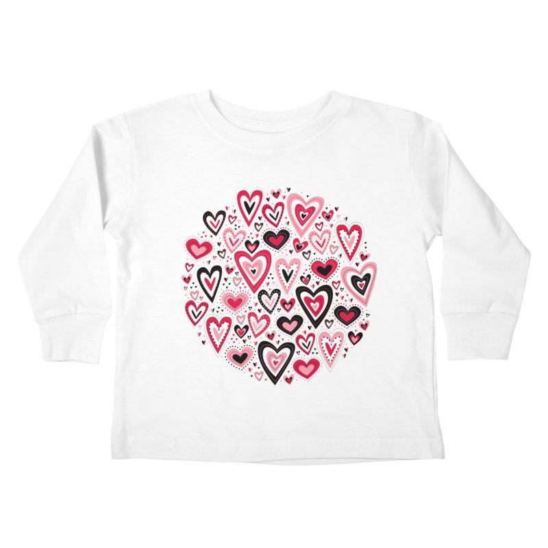 Lovely Hearts Kids Toddler Longsleeve T-Shirt by Robyriker Designs - Elishka Jepson
