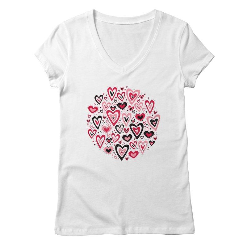 Lovely Hearts Women's V-Neck by Robyriker Designs - Elishka Jepson