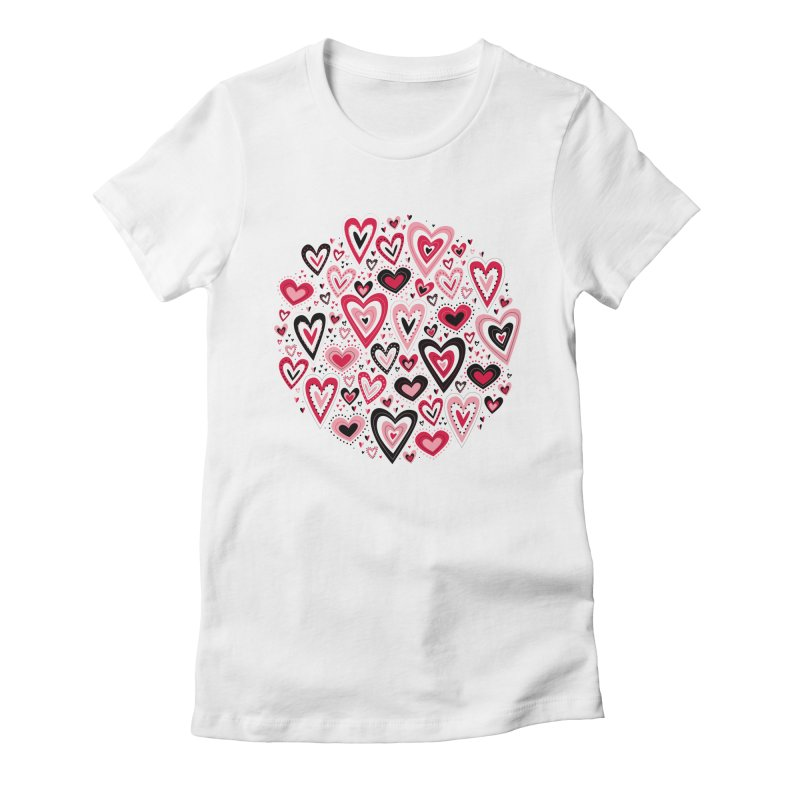 Lovely Hearts Women's Fitted T-Shirt by Robyriker Designs - Elishka Jepson