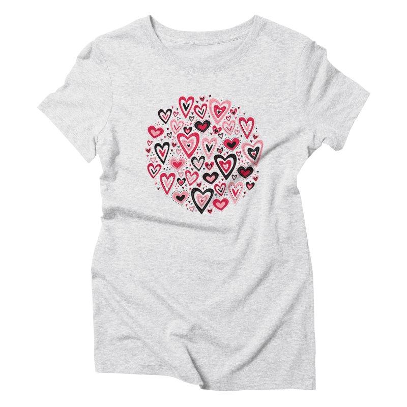 Lovely Hearts Women's Triblend T-Shirt by Robyriker Designs - Elishka Jepson