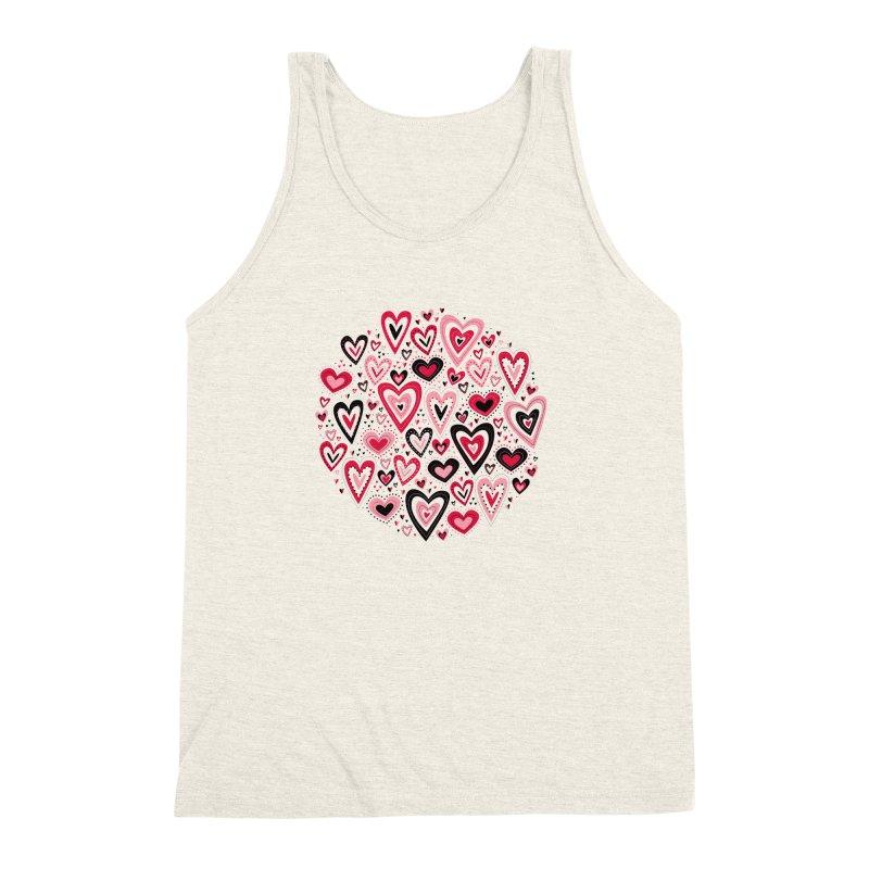 Lovely Hearts Men's Triblend Tank by Robyriker Designs - Elishka Jepson