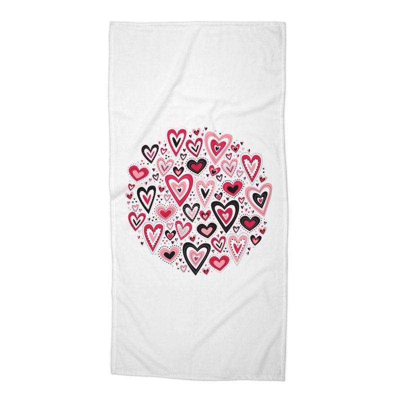 Lovely Hearts Accessories Beach Towel by Robyriker Designs - Elishka Jepson
