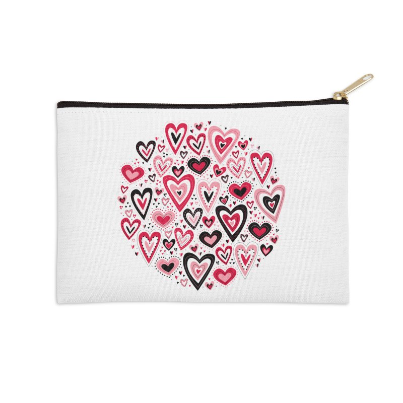 Lovely Hearts Accessories Zip Pouch by Robyriker Designs - Elishka Jepson