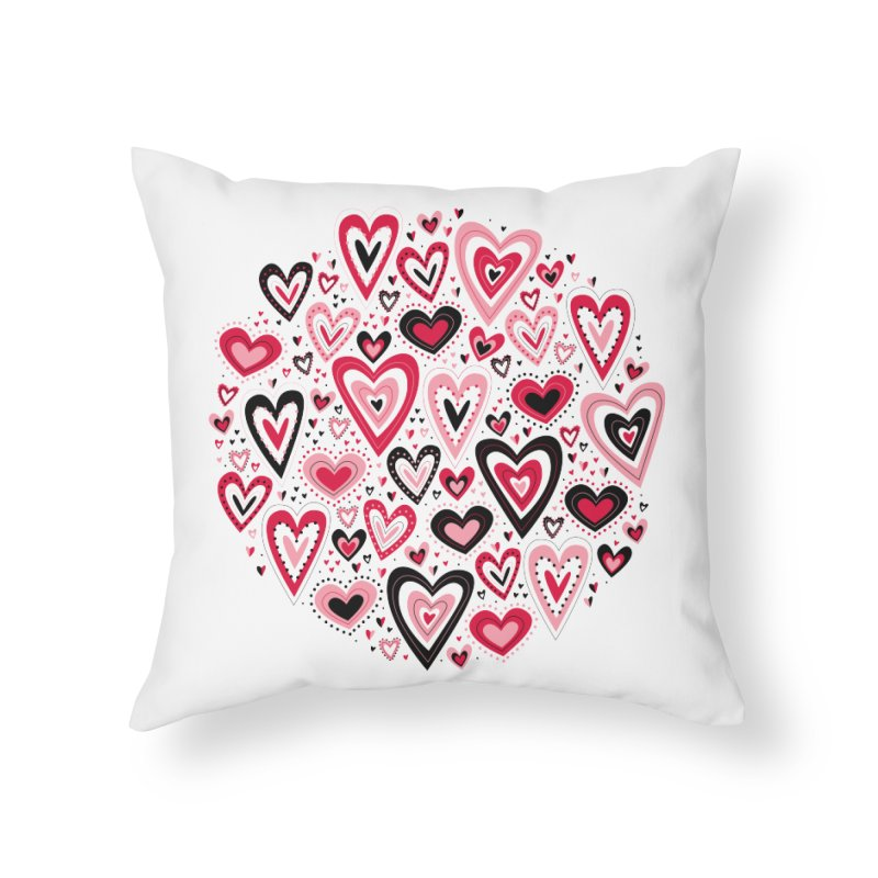 Lovely Hearts Home Throw Pillow by Robyriker Designs - Elishka Jepson