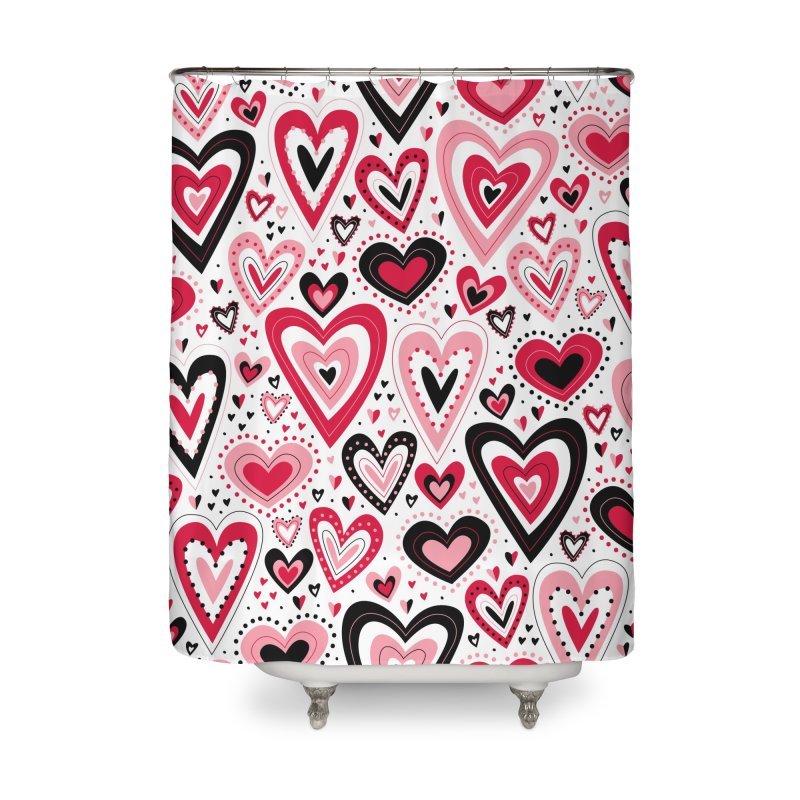 Lovely Hearts Home Shower Curtain by Robyriker Designs - Elishka Jepson