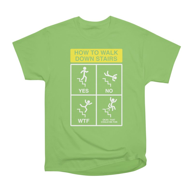 How to Walk Down Stairs Men's Heavyweight T-Shirt by Robyriker Designs - Elishka Jepson