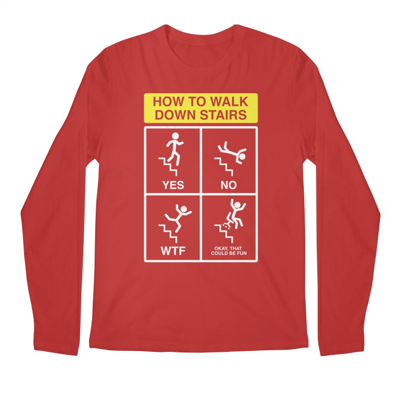 How to Walk Down Stairs Men's Longsleeve T-Shirt by Robyriker Designs - Elishka Jepson