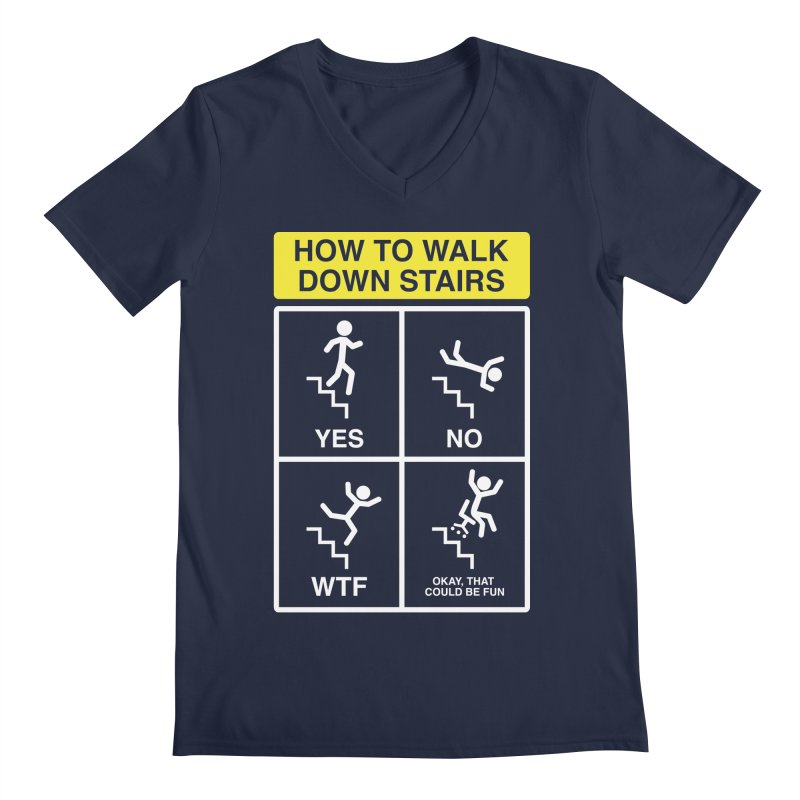 How to Walk Down Stairs Men's V-Neck by Robyriker Designs - Elishka Jepson