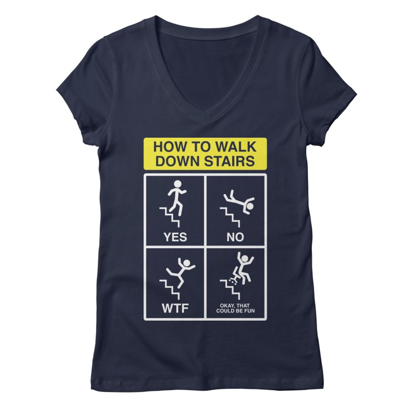How to Walk Down Stairs Women's V-Neck by Robyriker Designs - Elishka Jepson