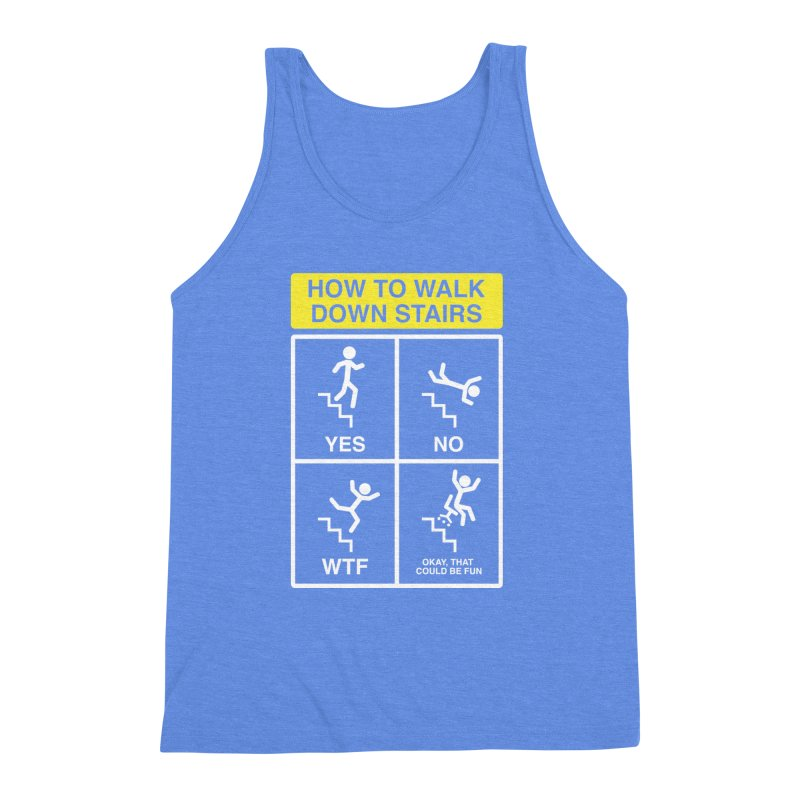 How to Walk Down Stairs Men's Triblend Tank by Robyriker Designs - Elishka Jepson