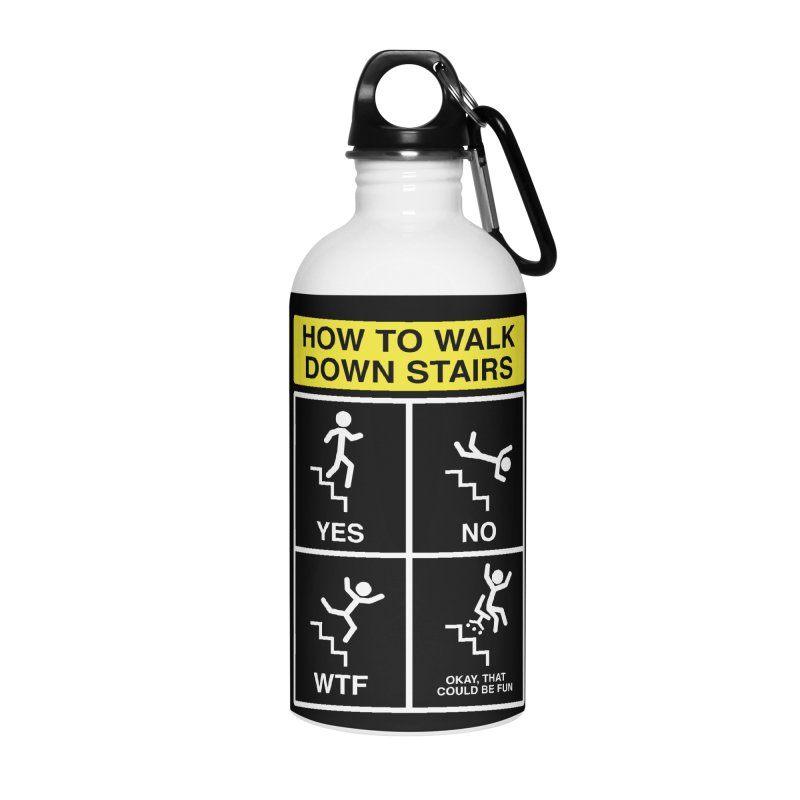 How to Walk Down Stairs Accessories Water Bottle by Robyriker Designs - Elishka Jepson