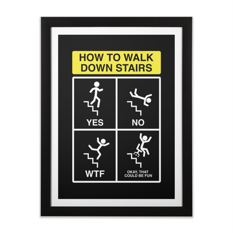 How to Walk Down Stairs Home Framed Fine Art Print by Robyriker Designs - Elishka Jepson