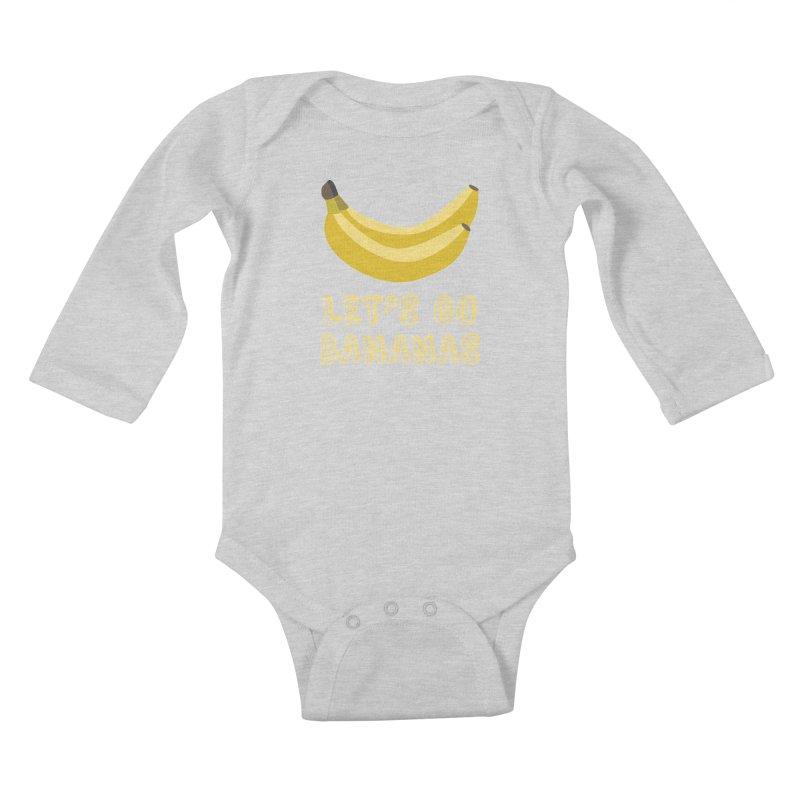 Let's Go Bananas Kids Baby Longsleeve Bodysuit by Robyriker Designs - Elishka Jepson