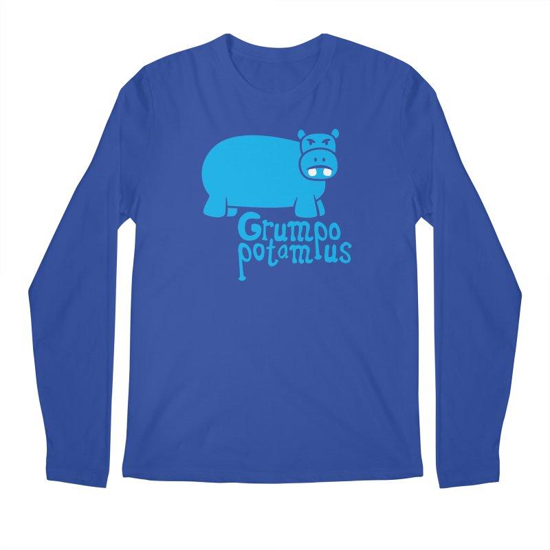 Grumpopotamus Men's Longsleeve T-Shirt by Robyriker Designs - Elishka Jepson