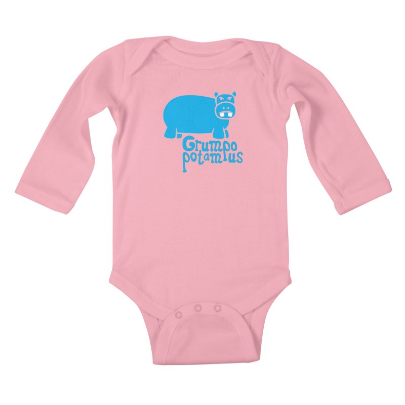 Grumpopotamus Kids Baby Longsleeve Bodysuit by Robyriker Designs - Elishka Jepson