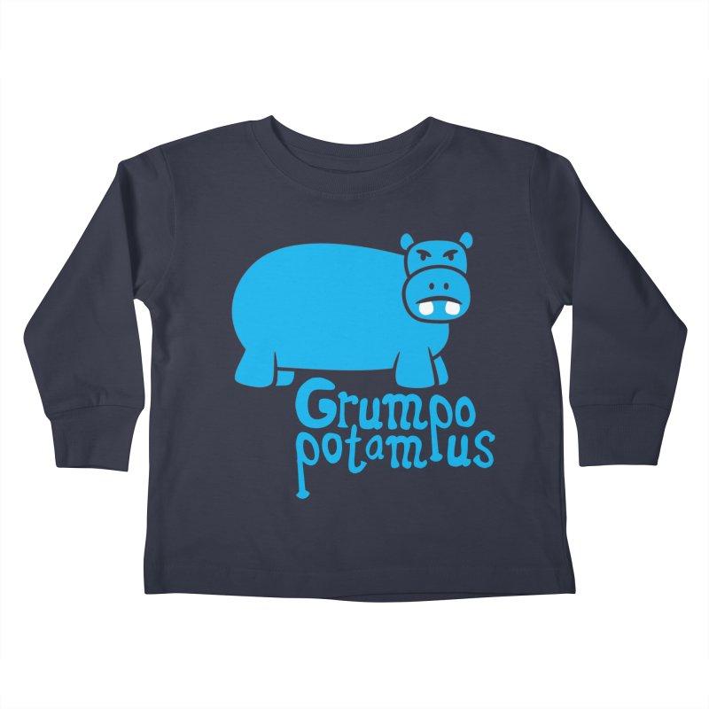Grumpopotamus Kids Toddler Longsleeve T-Shirt by Robyriker Designs - Elishka Jepson
