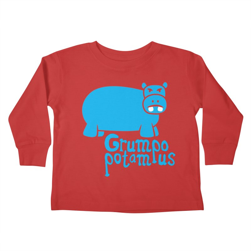 Grumpopotamus Kids Toddler Longsleeve T-Shirt by Robyriker Designs - Elishka Jepson