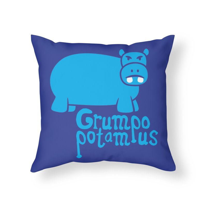 Grumpopotamus Home Throw Pillow by Robyriker Designs - Elishka Jepson