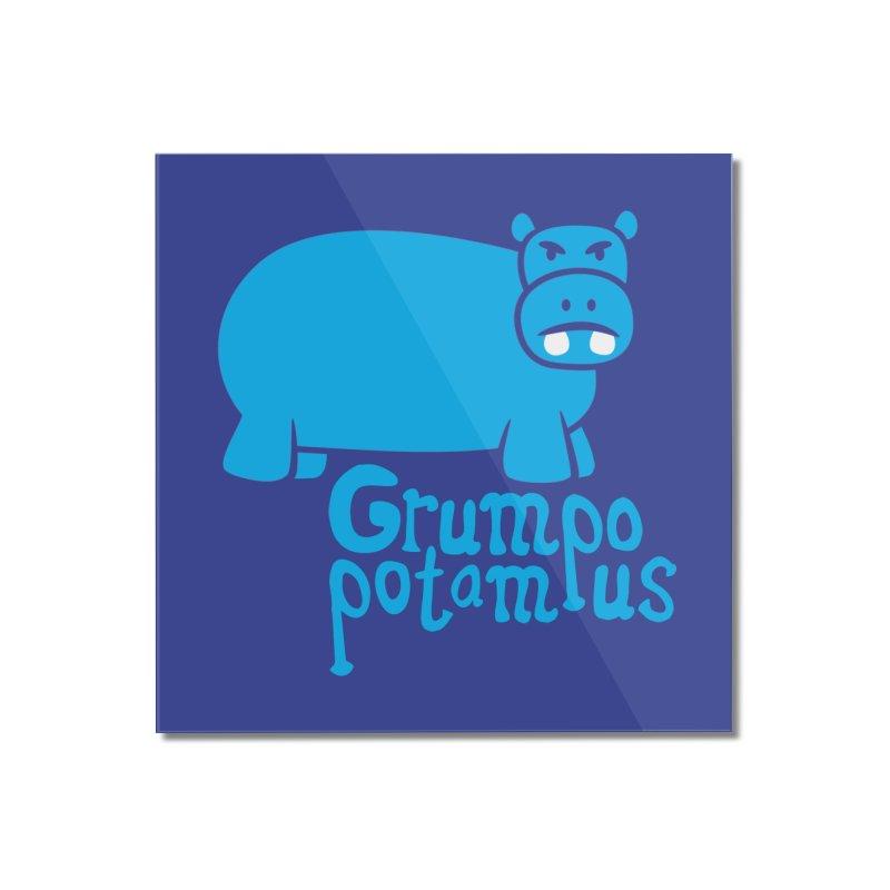 Grumpopotamus Home Mounted Acrylic Print by Robyriker Designs - Elishka Jepson