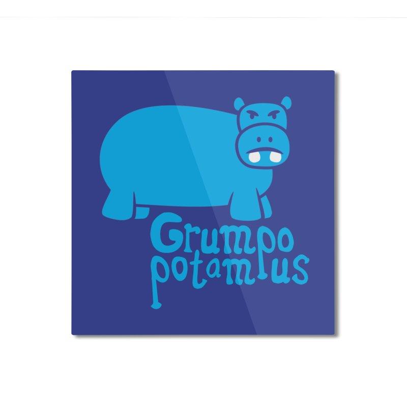 Grumpopotamus Home Mounted Aluminum Print by Robyriker Designs - Elishka Jepson